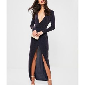 Navy Wrap Long Maxi Dress